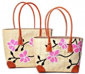 Straw beach bag Japanese Blossom Fairtrade by Madaraff