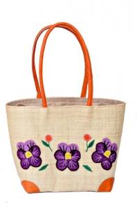 Pansy Border Raffia Straw Bag Fair Trade by Madaraff