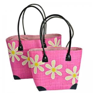 Raffia Straw Bag for Beach Picnic Shopping Daisy Pink FairTrade