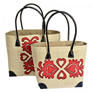 Raffia Straw Bag for Beach Picnic Shopping Nordic Heart FairTrade
