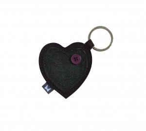 Tweed keyring bag charm heart fairtrade by Earth Squared