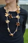 Crocheted cotton lace flower long fair trade necklace