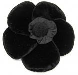 Velvet Brooch 5 Petal Flower Corsage Black