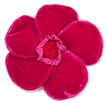 Velvet Brooch 5 Petal Flower Cerise by Silkthreads