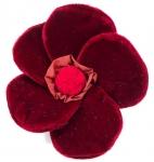 Velvet Brooch 5 Petal Flower Corsage Crimson