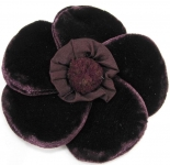 Velvet Brooch 5 Petal Flower Corsage Deep Purple
