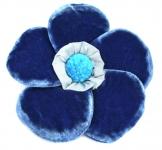Velvet Brooch 5 Petal Flower Electric Blue by Silkthreads