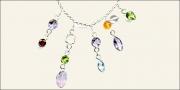 Amethyst, Garnet, Peridot , Moonstone, Blue topaz & Carnelian Necklace