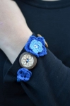 Crocheted cotton lace flower and button fair trade bracelet