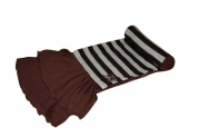Jersey Scarf Stripey Brown with silk ribbon