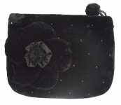 Coin Purse Velvet Flower Black by Silkthreads