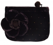 Coin Purse Velvet Flower Deep Purple by Silkthreads