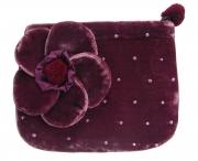 Coin Purse Velvet Flower Purple by Silkthreads
