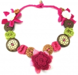 Crochet Flower Necklace Button Pink by Lovethatstuff