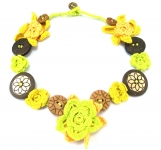 Crochet Flower Necklace Button Yellow by Lovethatstuff