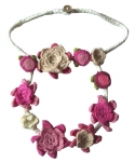 Crocheted cotton lace flower fair trade  2 Tier necklace Pink
