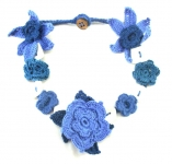 Crochet Flower Necklace with Shell Blue by Lovethatstuff