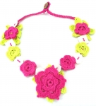 Crochet Flower Necklace with Shell Pink Lime by Lovethatstuff