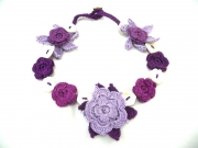 Crochet Flower Necklace with Shell Purple by Lovethatstuff