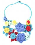 Crochet Flower Statement Necklace Blue Red by Lovethatstuff