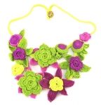 Crochet Flower Statement Necklace Lime Magenta by Lovethatstuff