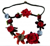Crocheted cotton lace flower necklace 2 Tier Red and Orange