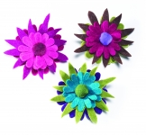 Felt flower brooch 3 layer by Namaste