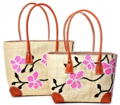 Straw beach bag Japanese Blossom Fairtrade by Madaraff