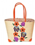 Lilac and Pansy Raffia Straw Bag Fair Trade by Madaraff (