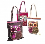 Owl design cotton shoulder bag with tweed patchwork  by Namaste