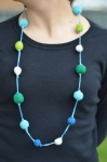 Crocheted cotton pompom fair trade necklace