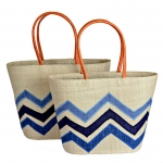 Raffia Straw Bag for Beach Picnic Shopping Chevron FairTrade