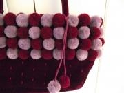 Plum velvet Fair Trade  bag with plum/lilac pompoms