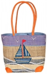 Sailboat Raffia Straw Bag Fair Trade by Madaraff