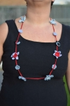 Crochet cotton lace flower necklace short grey & red