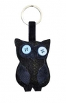 Tweed keyring bag charm owl navy blue fairtrade by Earth Squared