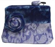 Velvet Brocade Purse Blue
