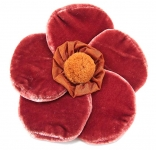 Velvet Brooch 5 Petal Flower Copper by Silkthreads