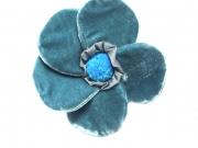 Velvet Brooch 5 Petal Flower Teal by Silkthreads