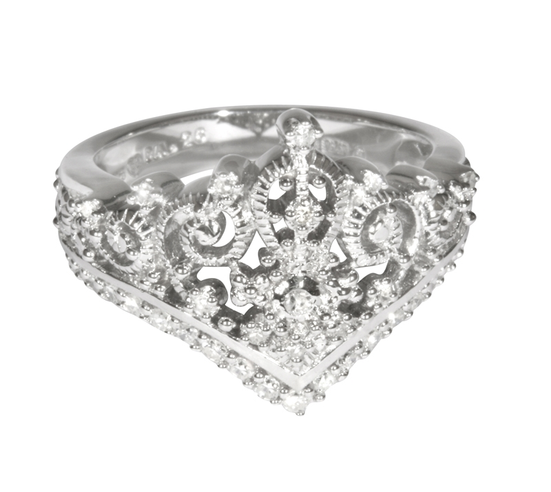 princess tiara collection ring 2 silver plated crowns