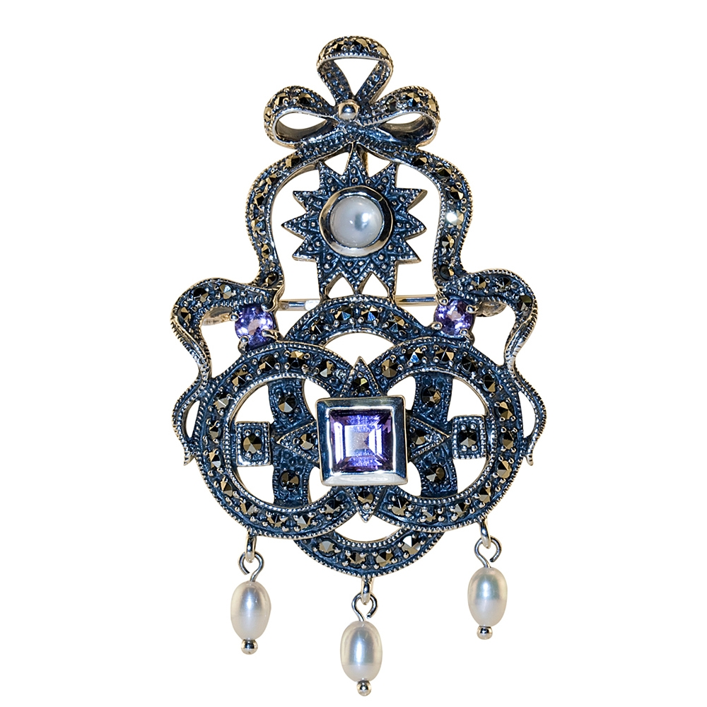broche verre designed diamonds brooch gilbert de as pearls pendant albert gold jewel and pate keshi pendentif