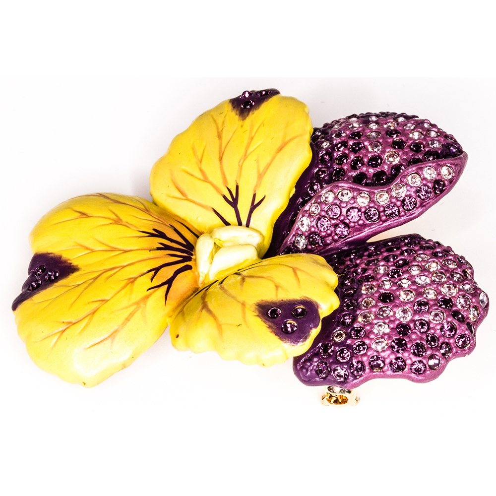 pins crystal from item fashion jewelry ningxiang multicolor brooch cute violet leaf girls bulk in flower brooches for large women purple rhinestone