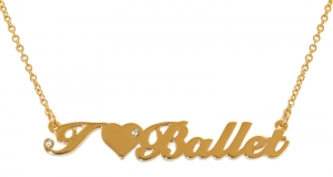 """I Love Ballet"" Pendant Polished Gold"
