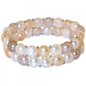 2 Row Multi-Coloured Pearl and  Silver Bracelet
