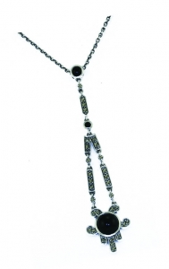 Argentium Art Deco Pendant with Black Onyx