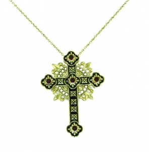 Argentium Silver Pugin Cross Necklace/brooch with Freshwater Pearls