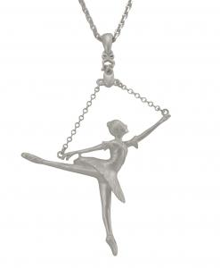Ballerina Arabesque Pendant - Silver Plated