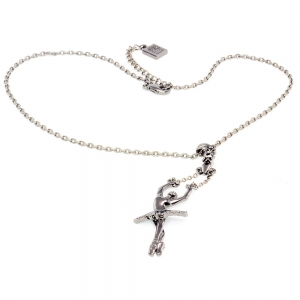 Ballerina Releve Arms 5th Pendant - Hematite Plated