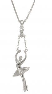 Ballerina Releve Arms 5th Pendant - Silver Plated