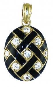 Black Weave Locket Crystal Pendant